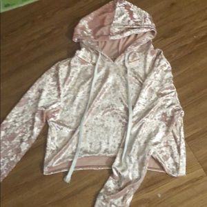 Light pink velvet cropped hoodie